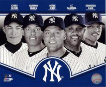 Robinson Cano, Ichiro Suzuki, Mariano Rivera, Derek Jeter, CC Sabathia 2013 New York Yankees LIMITED STOCK SATIN 8X10 Photo