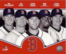Will Middlebrooks, Jon Lester, Dustin Pedroia, David Ortiz, Jacoby Ellsbury 2013 Boston Red Sox SATIN 8x10 Photo