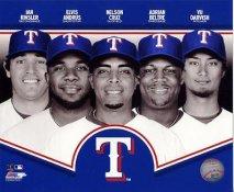 Ian Kinsler, Elvis Andrus, Nelson Cruz, Adrian Beltre, Yu Darvish 2013 Texas Rangers SATIN 8X10 Photo