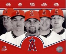 Jered Weaver, Mike Trout, Albert Pujols, Josh Hamilton, Mark Trumbo 2013 Anaheim Angels SATIN 8X10 Photo