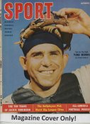 "Yogi Berra ""MAGAZINE COVER ONLY"" 1955 ORIGINAL Sport Magazine Cover INCLUDES FREE TOP LOAD HOLDER"