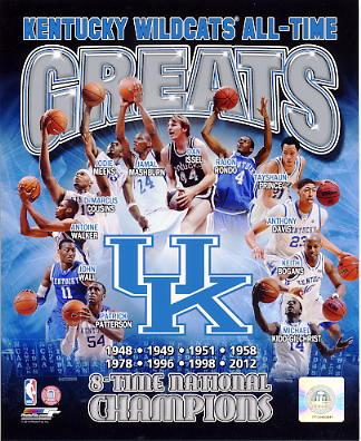 Dan Issel, John Wall, Rajon Rondo, DeMarcus Cousins, Michael Kidd-Gilchrist Kentucky All Time Greats SATIN 8X10 Photo LIMITED STOCK -