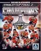 Marian Hossa, Patrick Kane, Jonathan Toews, Brent Seabrook, Corey Crawford, Brandon Saad Chicago Blackhawks 2013 Stanley Cup Champions SATIN 8x10 Photo
