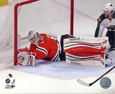Corey Crawford Chicago Blackhawks 2013 Stanley Cup Champions Playoff Game SATIN 8x10 Photo