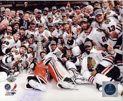 Chicago Blackhawks 2013 Stanley Cup Champions Celebration on Ice SATIN 8x10 Photo