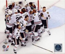 Chicago Blackhawks 2013 Stanley Cup Champions Celebrate Game 6 Win SATIN 8x10 Photo