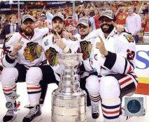 Viktor Stalberg, Niklas Hjalmarsson, Marcus Kruger, Johnny Oduya W/ Stanley Cup Chicago Blackhawks 2013 Stanley Cup Champions SATIN 8x10 Photo