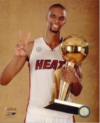 Chris Bosh with 2013 NBA Championship Trophy Miami Heat SATIN 8X10 Photo LIMITED STOCK