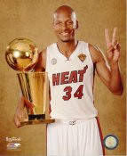 Ray Allen with 2013 NBA Championship Trophy Miami Heat SATIN 8X10 Photo LIMITED STOCK