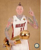 Chris Andersen with 2013 NBA Championship Trophy Miami Heat SATIN 8X10 Photo LIMITED STOCK
