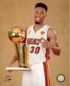 Norris Cole with 2013 NBA Championship Trophy Miami Heat SATIN 8X10 Photo LIMITED STOCK