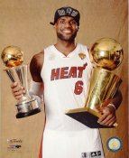 Lebron James with 2013 NBA Championship Trophy & MVP Trophy Miami Heat SATIN 8X10 Photo LIMITED STOCK