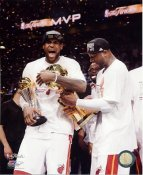 Lebron James & Dwyane Wade with 2013 NBA Championship Trophy & MVP Trophy Miami Heat SATIN 8X10 Photo LIMITED STOCK