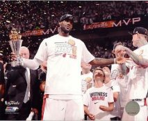 Lebron James with 2013 MVP Trophy Miami Heat SATIN 8X10 Photo LIMITED STOCK