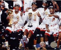 Dwyane Wade, LeBron James, Chris Bosh, & Norris Cole Celebrate after Game 7 2013 NBA Champions SATIN 8x10 Photo LIMITED STOCK
