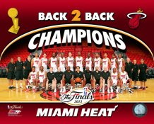 Miami 2013 Team Sit Down BACK TO BACK NBA Champions Team Photo SATIN 8X10 Photo LIMITED STOCK