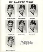Bill Mooneyham, Dave Schuler, Bob Davis, Craig Eaton, Brian Harper, Mike Bishop, Dennis Rasmussen LIMITED STOCK California Angels ORIGINAL TEAM ISSUED 8X10 Photo