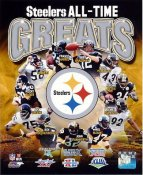 John Stallworth, Mel Blount, James Harrison, Jerome Bettis, Troy Polamalu, Terry Bradshaw, Franco Harris, Jack Lambert, Rocky Bleier, Joe Greene & Ben Roethlisberger Pittsburgh Steelers All Time Greats SATIN 8x10 Photo