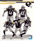 Emmanuel Sanders, Ben Roethlisberger, Antonio Brown, Lamar Woodley, Troy Polamalu 2013 Pittsburgh Steelers Team SATIN 8x10 Photo