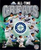 Ichiro Suzuki, Edgar Martinez, Felix Hernandez, Alex Rodriguez, Freddy Garcia, Randy Johnson, Ken Griffey Jr. Seattle Mariners All Time Greats SATIN 8X10 Photo LIMITED STOCK -