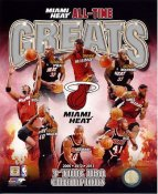 Tim Hardaway, Glen Rice, Lebron James, Alonzo Mourning, Dwyane Wade, Chris Bosh,Shaq, Udonis Haslem Miami Heat All Time Greats SATIN 8X10 Photo  LIMITED STOCK