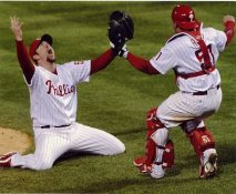 Brad Lidge & Carlos Ruiz SUPER SALE Phillies Slight Crease 8X10 Photo