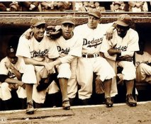 Jackie Robinson 1st Dodgers game with Spider Jorgenson, Pee Wee Reese, Ed Stankey No Hologram LIMITED STOCK 8X10 Photo