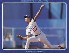 Carlos Diaz Stats On Back Unocal Poster Stock Includes Free Top Loader SUPER SALE LA Dodgers 8 1/2X11 Photo