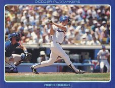 Greg Brock Stats On Back Unocal Poster Stock Includes Free Top Loader SUPER SALE LA Dodgers 8 1/2X11 Photo