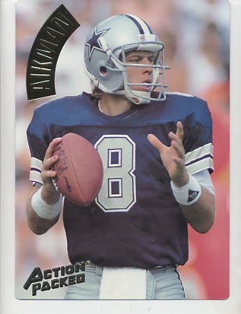 Troy Aikman SUPER SALE Action Packed Mammoth Cards w/ Stats on Back Dallas Cowboys 7.5 X 10.5 Photo Card