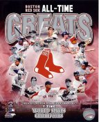 Wade Boggs, Johnny Pesky, Pedro Martinez, Fred Lynn, Cy Young, Carl Yastrzemski, Ted Williams, Bobby Doerr, David Ortiz All Time Greats Boston Red Sox SATIN 8X10 Photo LIMITED STOCK -
