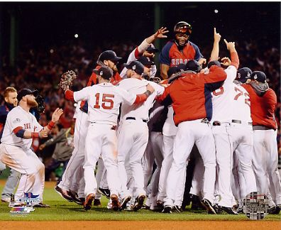 Boston 2013 World Series Champs Celebrating Game 6 Win w/ Big Papi in the Middle Boston Red Sox SATIN 8x10 Photo