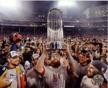 Mike Napoli w/ 2013 World Series Trophy Boston Red Sox SATIN 8x10 Photo