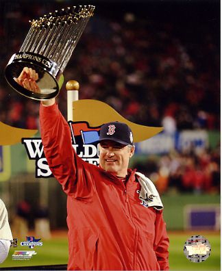 John Farrell w/ 2013 World Series Trophy Boston Red Sox SATIN 8x10 Photo