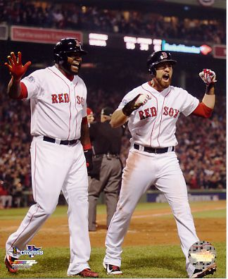 Jacoby Ellsbury & David Ortiz 2013 World Series Win Boston Red Sox SATIN 8x10 Photo