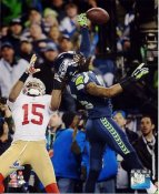 Richard Sherman 2013 NFC Champs Game Pass Deflection Seattle Seahawks SATIN 8X10 Photo
