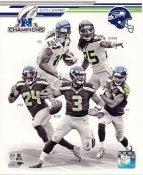 Golden Tate, Marshawn Lynch, Sidney Rice, Russell Wilson, Richard Sherman 2013 NFC Champions Seattle Seahawks SATIN 8X10 Photo