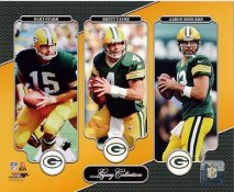 Bart Starr, Brett Favre, Aaron Rodgers Green Bay Packers Legacy SATIN 8X10 Photo LIMITED STOCK