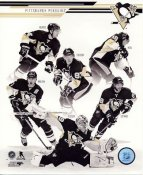 James Neal, Sid Crosby, Chris Kunitz, Evgeni Malkin, Chris Letang, Marc-Andre Fleury Pittsburgh Penguins SATIN 8x10 Photo