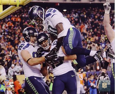 Zach Miller, Jermaine Kearse, Derrick Coleman Celebrate TD Super Bowl 48 TD Seattle Seahawks SATIN 8X10 Photo
