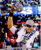 Russell Wilson With Lombardi Trophy Super Bowl 48 Seattle Seahawks SATIN 8X10 Photo
