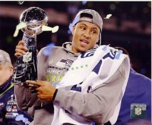 Malcolm Smith With Lombardi Trophy Super Bowl 48 Seattle Seahawks SATIN 8X10 Photo