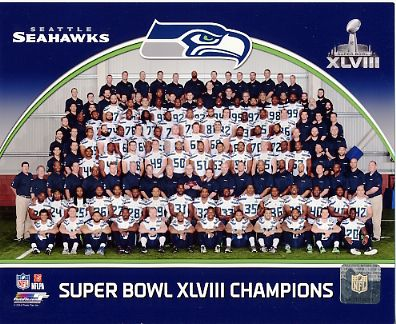 Seattle Seahawks Super Bowl 48 Team Sit Down SATIN 8X10 Photo