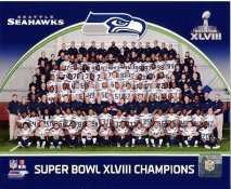 Seattle Seahawks Super Bowl 48 Team Sit Down SATIN 8X10 Photo