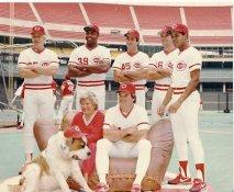 Dave Parker, Barry Larkin, Marge Schott, Schottzie & Pete Rose LIMITED STOCK Cincinnati Reds 8X10 Photo
