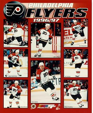 Philadelphia 1996-97 Flyers Ron Hextall, Eric Lindros, Rod Brind'Amour, John LeClair LIMITED STOCK 8x10 Photo