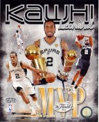 Kawhi Leonard w/ NBA Champs & MVP Trophies Composite 2014 Finals Champions San Antonio Spurs SATIN 8X10 Photo LIMITED STOCK