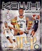Kawhi Leonard w/ NBA Champs & MVP Trophies Composite 2014 Finals Champions San Antonio Spurs SATIN 8X10 Photo LIMITED STOCK