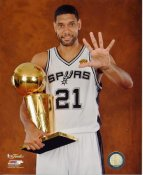 Tim Duncan w/ NBA Champs Trophy 2014 Finals Champions San Antonio Spurs SATIN 8X10 Photo LIMITED STOCK
