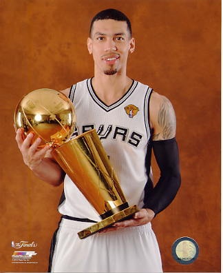 Danny Green w/ NBA Champs Trophy 2014 Finals Champions San Antonio Spurs SATIN 8X10 Photo LIMITED STOCK